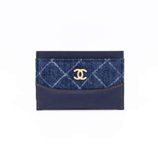 (NEW) CHANEL DENIM GABRIELLE CC SLIM CARD CASE FABRIC CARD HOLDER GBHW 全新 藍色 金扣