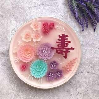 3D flower longevity jelly cake