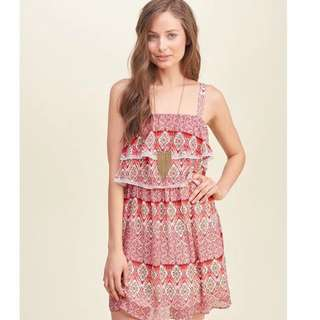 Hollister超靚吊帶連身裙HCO patterned red dress A&F