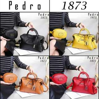 FREE ONGKIR Set 2 in 1 PEDRO Katie Women's Luxury Handbags With Marmont Belt Bag & Double Strip Clemence Leather Hardware Black 1873*