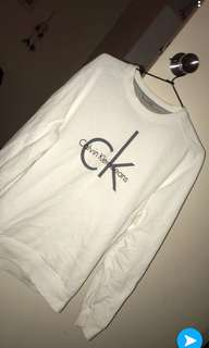 Calvin Klein White Crewneck Sweater