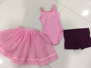 Aurora Dance School Kinder Ballet Uniform, leotard skirt shorts 4-5 years old