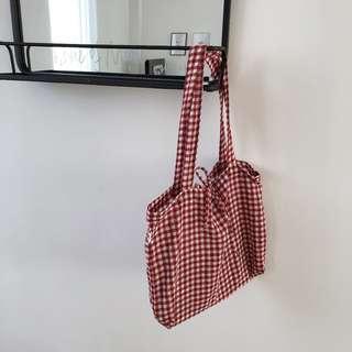 韓國時尚休閒格子佈包小清新蝴蝶結繫帶大容量單肩帆布女包包