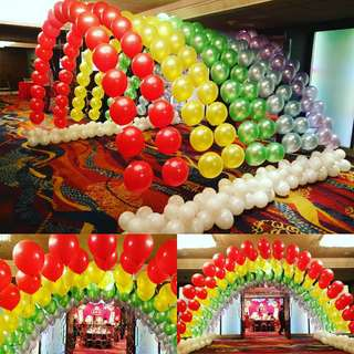Multi layer string balloon arch