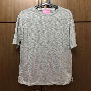 竹節棉灰色短袖T恤 微透