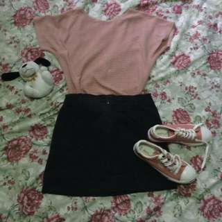 Knitted Pink Top and Black Denim Skirt