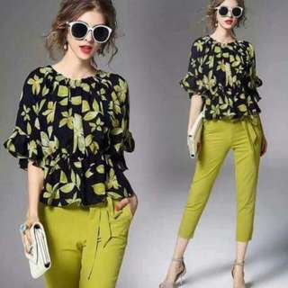 🍃Formal Floral Blouse and Green Pants Ternoset