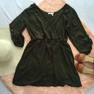 Overlap army green dress