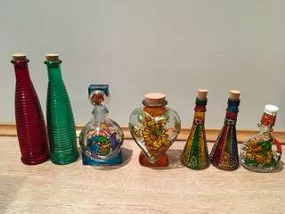 Lot of 7 Decorative Bottles