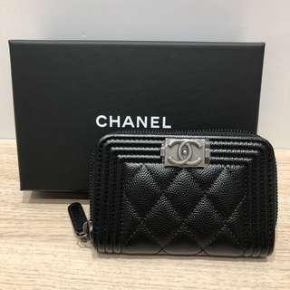 Boy Chanel 黑色牛皮拉鍊card holder