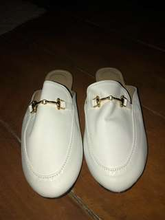 Gold Buckle Half Shoe (white)