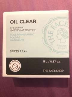 The Face Shop Oil Clear sheer pink mattifying powder