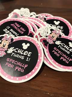 Minnie Mouse birthday sticker labels customised