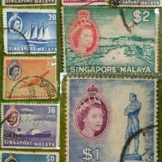 """Perangko/stamp kuno """"Singapore-Malaysia"""". Dicetak 05 Juni 1959 sebelum Kemerdekaan Negara Republik Singapura 09 Agustus 1959. Kondisi mulus dan terawat."""