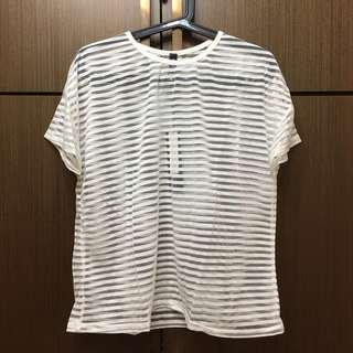 透視感條紋短袖上衣(白色) #一百元好物