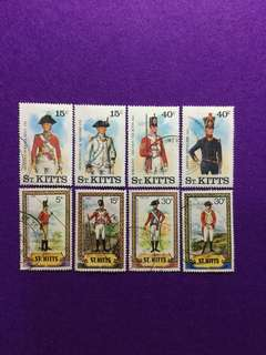 St. Kitts Short Sets Military Uniforms From 1981, 1983 & 1987 Issues 8 Values Used