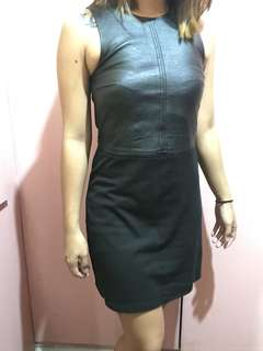 Branded leather dress