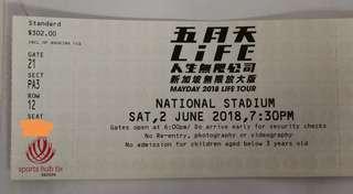 (Negotiable) CAT 1 Mayday 2018 Life Tour Concert Tickets 五月天 2018 人生无限公司