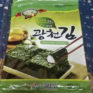 購自韓國 大包裝紫菜 一包6片入 seasoned seaweed olive