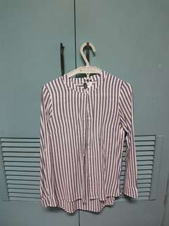 H&M chinese collar striped long sleeved top