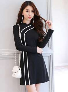Long-Sleeve: Black Modern Korean Stand Collar Color Block Skinny Dress (S / M / L / XL) - OA/KKD080412