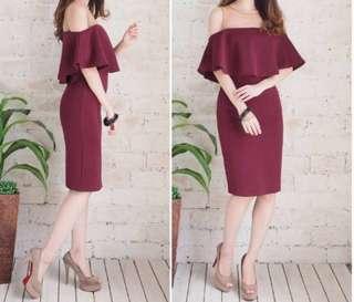 Maroon Red Sabrina Dress Sheer