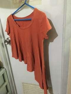 Orange asymmetrical blouse