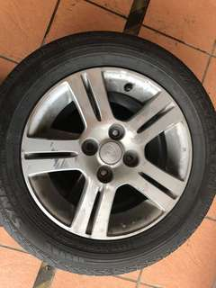 Myvi rim original 14 inch include tyres rim condition 95/100 tyres 60/100