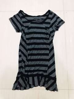 short sleeves horizontal stripe one piece