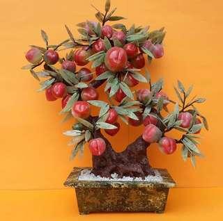 天然玉石盆栽 桃子