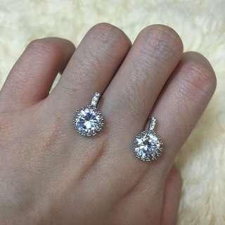 純針針包白金鋯石耳環