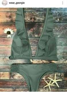 Ruffled top bikini