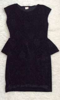 Black velvet peplum lace dress