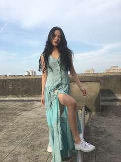 水藍氣質顯瘦長洋裝!