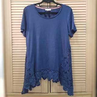 Long T-shirt with Lace Detail