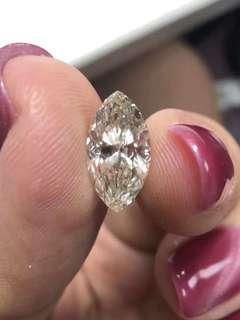 橄欖形鑽石2.053克拉淨度si顏色j台面12.31/6.59