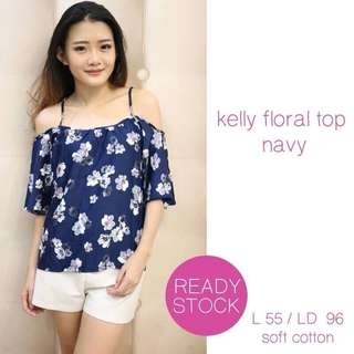 Kelly Floral Top Navy
