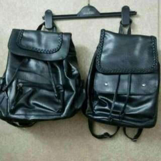 軟皮 黑色背包 書包 全新連袋