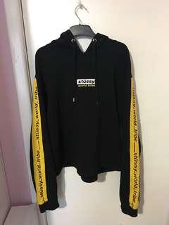STUSSY Itallic Lines Crop Hood Black Yellow Hoodie