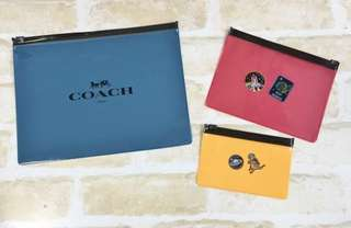 COACH 3-Piece PVC Zip Pouch Set