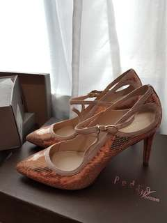 Rose gold sequined pumps