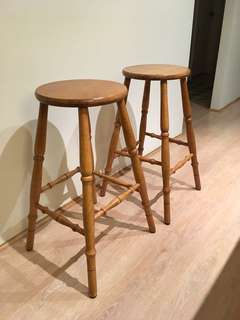 Wooden Bar Stools - A pair