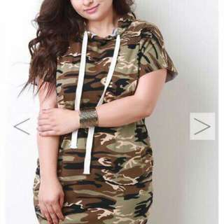 Camouflage Hoodie Dress Plus Size