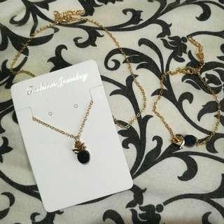 Pineapple Necklace & Bracelet Set