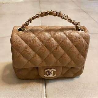 Brand new full set Chanel mini handbag Beige caviar gold hw 2018