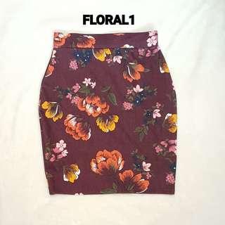 Printed Floral Pencil Skirt