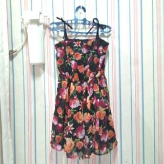 Flowers dress gaun import