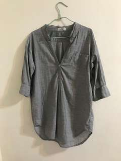 🚚 灰色 長板 襯衫