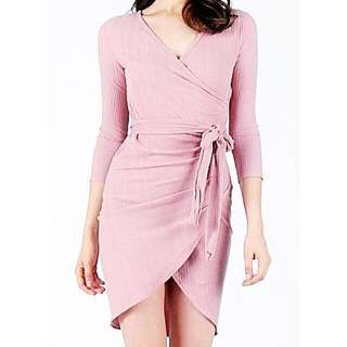 Pink Knitted Wrap Dress