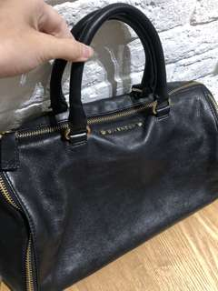 Givenchy Vintage Bowling In and Gold Zipper Black Leather Tote bag
